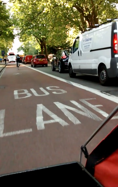 Bus lanes view from a cargo bike