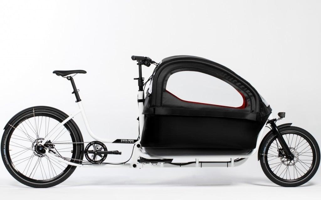 Douze cargo bike white 600mm with rain tent
